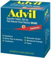 Advil Ibuprofen, 200mg, 50 Packets of 2 Coated Tablets (Pack of 2)