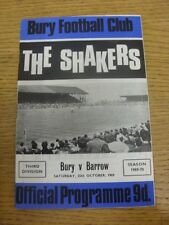 25/10/1969 Bury v Barrow  .  Thanks for taking the time to view this item, when