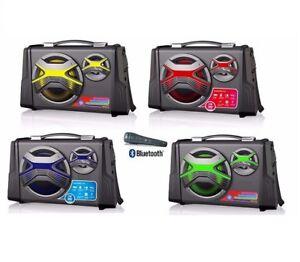 ALTAVOZ PORTATIL 2 ALTAVOCES BLUETOOTH USB SD RADIO FM AUX BATERIA RECARGABLE