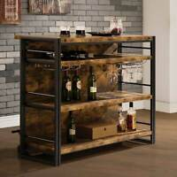 Coaster Industrial Mid Century Bar Unit With Stemware Rack Antique Nutmeg130071
