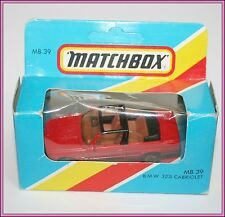 Vintage Matchbox Diecast Toy BMW 323i Cabriolet Red Convertible MB39 Brand New!