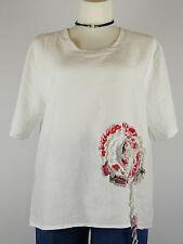 Sarah Santos XXL 48 50 Tunika weiß Kastenform Leinen Blume Lagenlook Oberteil