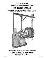 Van Norman No. 404 Brake Drum Lathe Manual