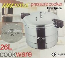 26 LITRE PRESSURE COOKER ALUMINIUM 26L KITCHEN CATERING HOME WITH 2 COOING TRAYS