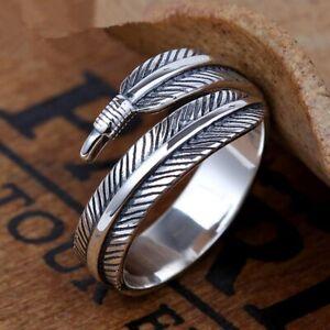 925 Sterling Silver Plated Leaf/Feather Ring Adjustable Finger Thumb Band UK+Bag