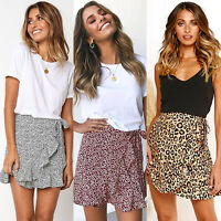 Women's Leopard Print High Waist Ruffle Wrap Short Summer Casual Frill Skirts