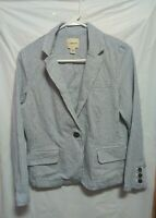 G.H. Bass Thin Striped One Button Lapel Blazer Jacket Woman's Size M