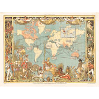 Crane 1886 Pictorial Map British Empire World Canvas Art Print Poster