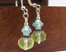 PASTEL BEADED Earrings YELLOW BLUE Dainty Drops Czech Glass Silver Plated USA
