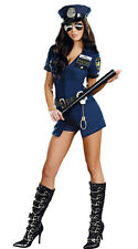 sexy ladies blue naughty cop police mini dress fancy dress with hat, size 8-10