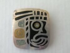 silver Mayan brooch Vintage Mexican Taxco sterling