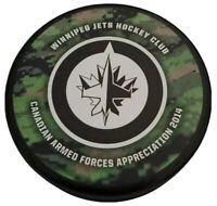 2014 WINNIPEG JETS NHL OFFICIAL HOCKEY CLUB PUCK 🇸🇰 CANADIAN ARMED FORCES RARE