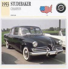 1953 STUDEBAKER CHAMPION Classic Car Photograph / Information Maxi Card