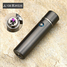 Electric Dual Arc Lighter Plasma Rechargeable USB Cigar Pipe Black Wire Drawing