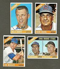 Lot of (4) 1966 Topps Chicago Cubs Signed Baseball Cards (Inv.#142)