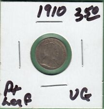 1910 Canadian 5 Cents Silver Coin - Pointed Leaf - VG