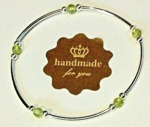 PERIDOT and STERLING SILVER STACKING BRACELET - HANDMADE