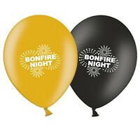 """Bonfire Night Fireworks 12""""  Black & Gold Assorted Latex Balloons pack of 5"""