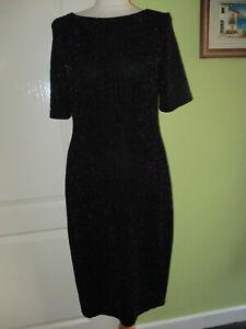 ROMAN SIZE 12 WOMENS BLACK & SPARKLY PURPLE METALLIC STRETCHY DRESS