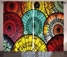 Fabric Curtains Elegant Umbrella Indian Window Drapes 2 Panel Set 108x84 Inches