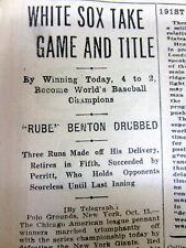 1917 newspaper CHICAGO WHITE SOX win the baseball WORLD SERIES vs the NY GIANTS