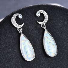 Fashion Twist Shape Ocean white imitation Opal Silver Drop Earring Jewelry