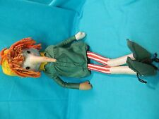 """21"""" 1960's Impulse Items Cloth Doll Scarecrow Long Nose Striped Outfit"""