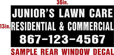 """CUSTOM  WINDOW DECALS  """"Promote your Business"""" 13"""" X 36"""" WHITE  Free Shipping"""