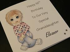 Personnalisé handmade birthday girl carte - 11/12/13 / 14/15/16, fille, nièce