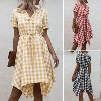 ZANZEA Womens Evening Short Sleeve Check Plaid Dress Asymmetric Dress Plus Size