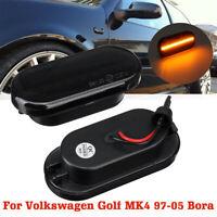 2pcs Smoked Lens LED Side Marker Light Indicator Repeater For VW Golf MK4