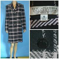 ST JOHN Collection Pink Jacket Coat L 10 12 DUSTER DRESS Black Buttons Collared