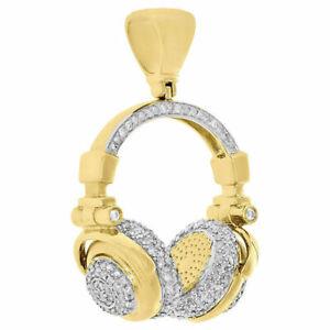 "10K Yellow Gold Finish 3D DJ Headphones Diamond Pendant 1.50"" Mens Charm 1 Ct."