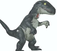 Inflatable Velociraptor Costume Adult Raptor Dinosaur Blow Up Jurassic Blue