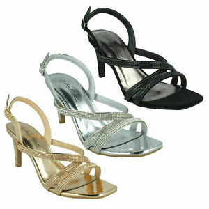 Ladies Anne Michelle Sling back Diamante High Heel Sandals : F1R0986