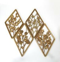 Vintage Mid Century Hollywood Regency Syroco Four Season Wall Decor Gold Diamond