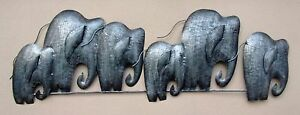 Unusual 3D Abstract Silver Elephant Wall Art Hand Made Metal Elephant Herd 1 Mtr