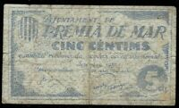 Billete Ajuntament de Premiar de Mar  5 centims 1937 centimos ajuntamiento