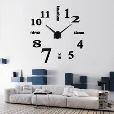 3D Big Wall Clock DIY Mirror Office Decoration Modern Slick Elegant New Design