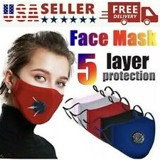 Cloth Face Cover  With Valve & Filter.HIGH Quality COTTON,Hand Made,USA.WASHABLE