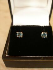 PAIR OF 9 CARAT GOLD BLUE TOPAZ STUD EARRINGS MADE IN ENGLAND BRAND NEW IN BOX