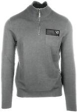 Versace Jeans Men's Gray Wool Blend Half Zip Sweater