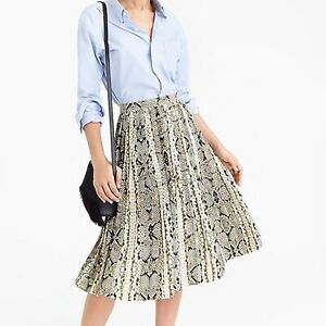 J Crew NWT $148 Petite Pleated Midi Skirt in Snakeskin Print   Sz 4P   M0588
