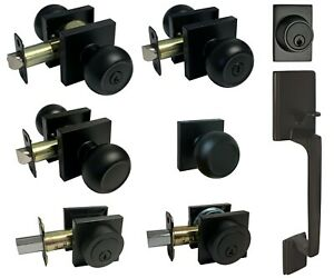 Matte Black Square Plate door locks Knobs Keyed entry privacy passage deadbolt
