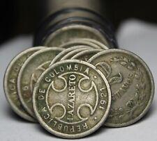 Incredible Rare Roll (50) Colombia 1921 2 Centavo Coins~Lazareto Leprosy Colony