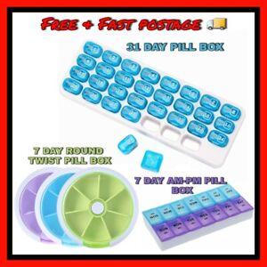 31 Days Pill box 7 Days Weekly AM PM Tablet Sort Medicine Storage Organizer UK