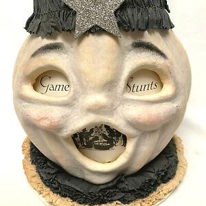 Dee Foust for Bethany Lowe Halloween Paper Mache JOL Pumpkin Crepe Collar Hat