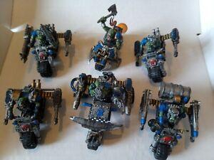 Ork Warbikes x6 Gorkamorka Mob warhammer 40k 40000 converted oop painted biker