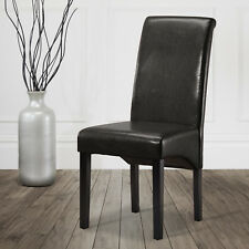 2 Premium Dining Chairs Roll Top Scroll Faux Leather High Back Wood Furniture