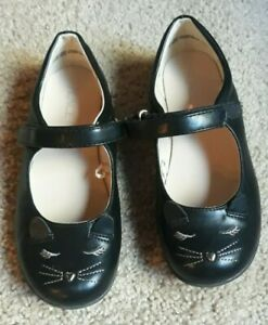 The Children's Place Black Cat face Heart Nose Mary Jane Shoes Girls size 2